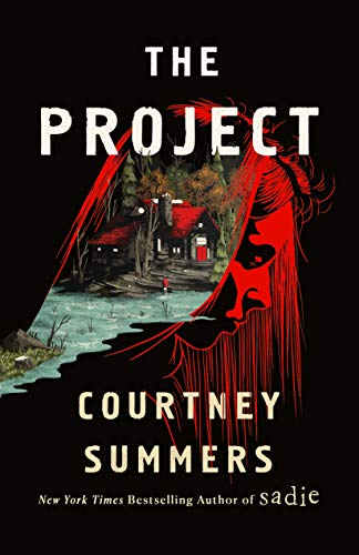 Dark cover, females head in red opens up to a cabin in the woods